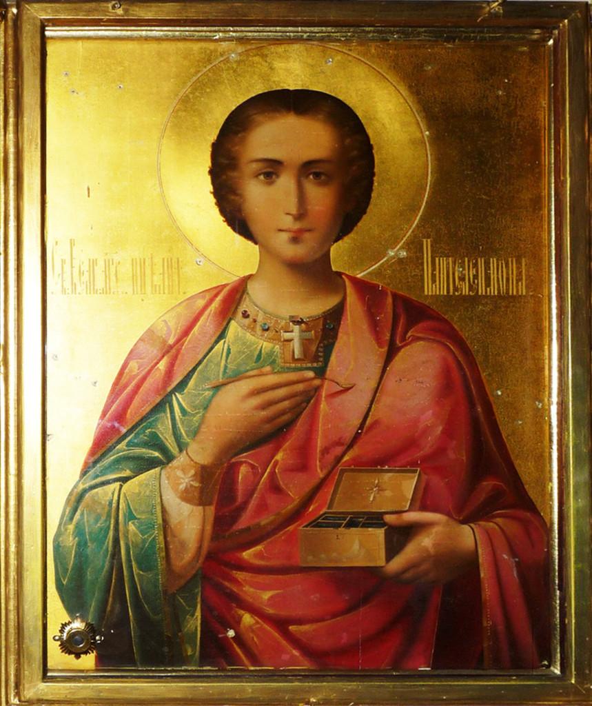 Икона великомученика Пантелеймона со Святой Горы Афон с частицей мощей.